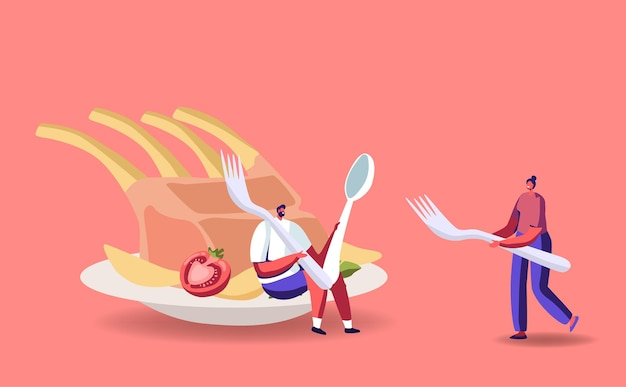 Petits personnages masculins et féminins à une immense assiette avec repas de côtes