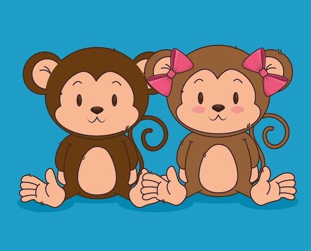 Petits personnages de singes mignons