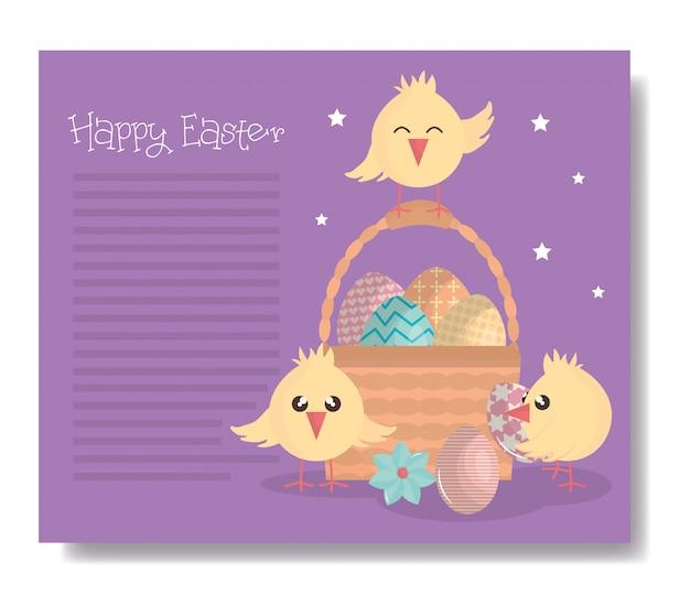 Petits poussins mignons avec des personnages de pâques de panier et des œufs