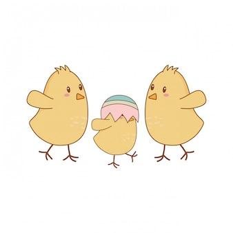 Petits poussins avec des oeufs cassés caractères de pâques