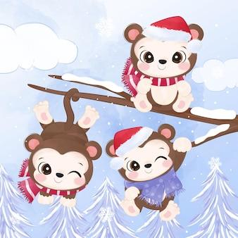 Petits singes mignons pour l'illustration de noël