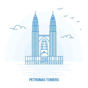 Petronas towers blue landmark