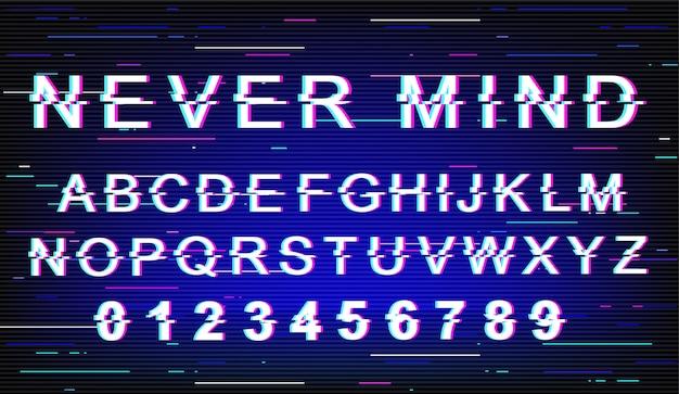 Peu importe le modèle de police. alphabet de style futuriste rétro sur fond bleu. lettres majuscules, chiffres et symboles. ne vous souciez pas de la conception de la police de caractères avec effet de distorsion