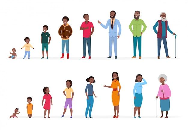 Peuple afro-américain d'âges différents