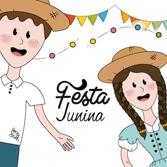 Peuple brésilien célébrant festa junina avec fête des drapeaux