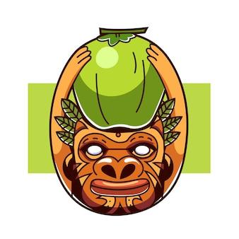 Peuple eethnic avec la noix de coco