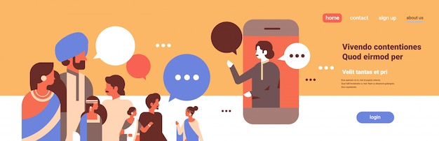 Peuple indien chat bulles application mobile communication discours dialogue