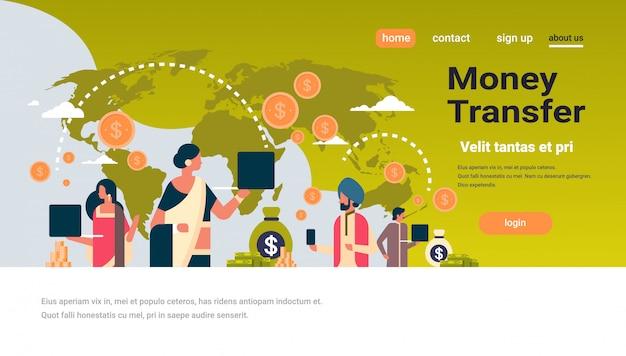 Peuple indien utilisant une bannière de transaction d'argent avec une application de paiement globale