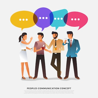 Les peuples de concept design plat parlent avec bulle de message ballon.