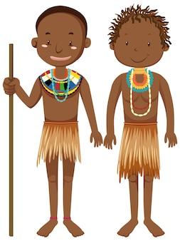 Peuples ethniques des tribus africaines en personnage de dessin animé de vêtements traditionnels