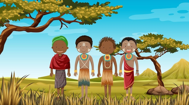 Peuples ethniques des tribus africaines en vêtements traditionnels dans la nature