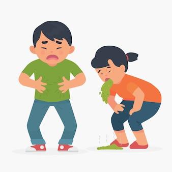 Les peuples souffrent de maux d'estomac, de vomissements et d'intoxication alimentaire