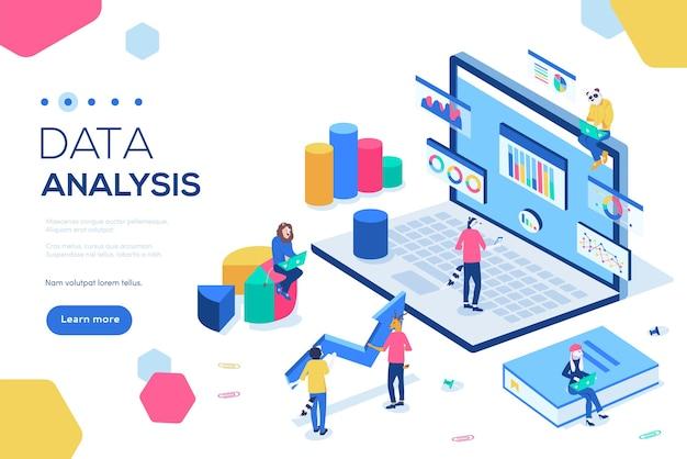 Peut être utilisé pour la bannière web, l'infographie, l'en-tête. concept d'analyse de données avec des personnages.