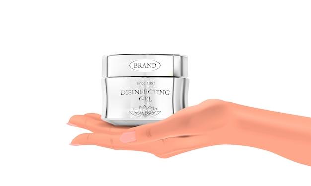 Peut de gel désinfectant à la main sur un fond blanc, réaliste main et pot, illustration