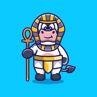 Pharaon mignon de vache portant un bâton