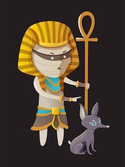 Pharaon momie personnage halloween avec chien vector illustration