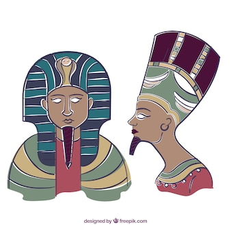 Pharaons dessinés à la main