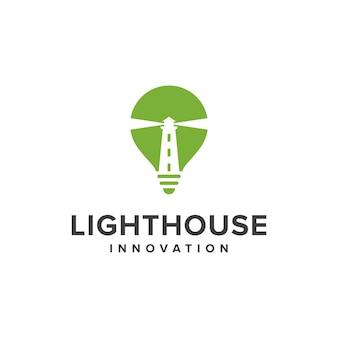 Phare et ampoule simple création de logo géométrique créatif élégant