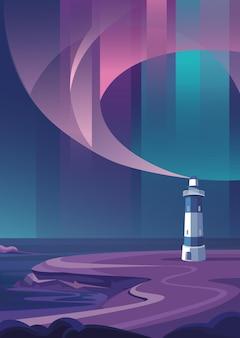 Phare au bord de la mer. paysage marin avec aurores boréales en orientation verticale.