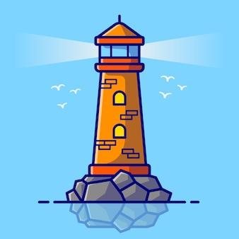 Phare cartoon vector icon illustration. concept d'icône de bâtiment extérieur isolé vecteur premium. style de dessin animé plat