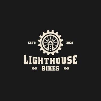 Phare avec logo vintage de roue de bicyclette