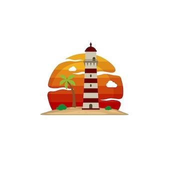 Phare plage île vue art vectoriel