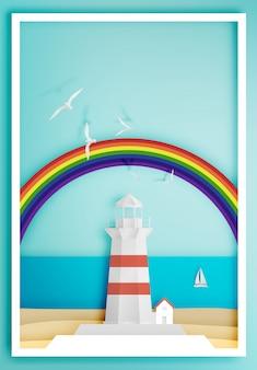 Phare avec le style de l'art papier fond cadre océan