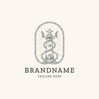 Phare vintage avec corde et lance dessin à la main gravure logo