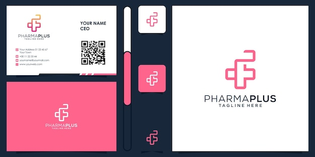 Pharma plus logo médical avec vecteur de conception de carte de visite premium