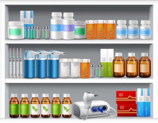 Pharmacie étagères réalistes
