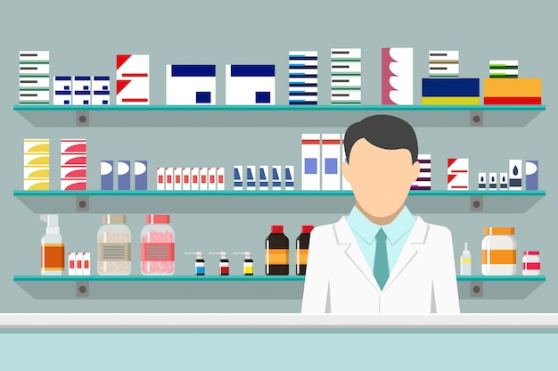 Pharmacie intérieure moderne avec pharmacien de sexe masculin