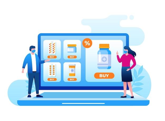Pharmacie en ligne avec illustration de petites personnes