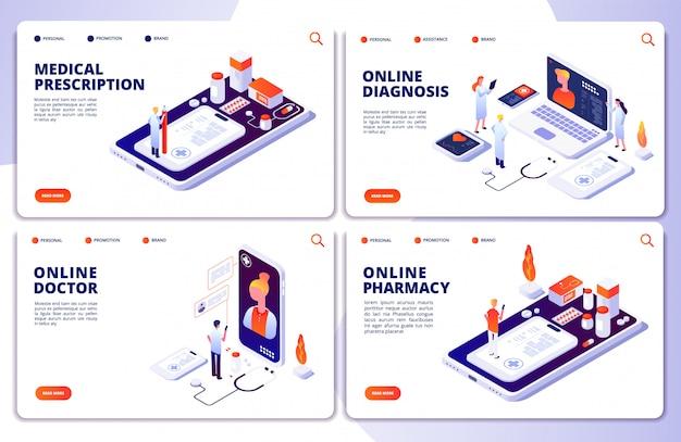 Pharmacie en ligne, médecin en ligne, pages de destination de la médecine web