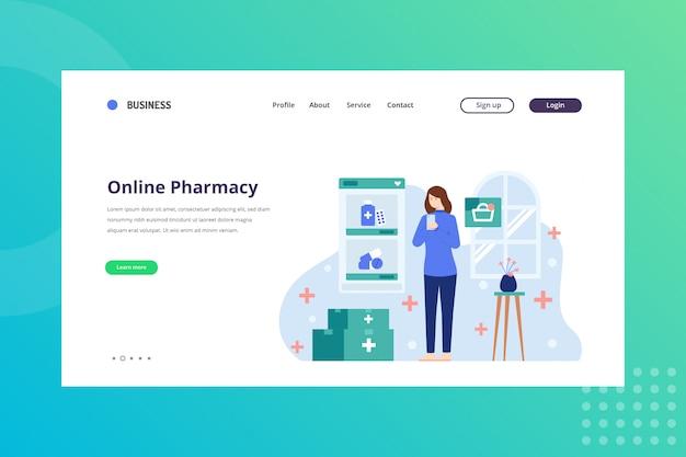 Pharmacie en ligne pour le concept médical sur la page de destination