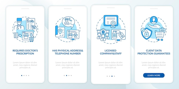 Pharmacie en ligne sûre signe l'écran de la page de l'application mobile d'intégration avec des concepts