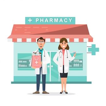 Pharmacie avec médecin et infirmière devant la pharmacie