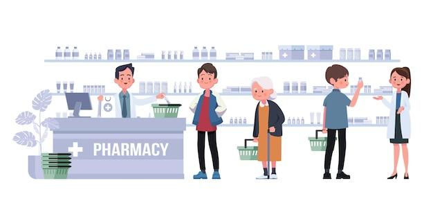 Pharmacie avec pharmacien et client au comptoir. illustration de personnage de dessin animé de pharmacie