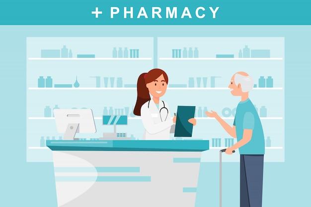 Pharmacie avec pharmacien et client au comptoir.