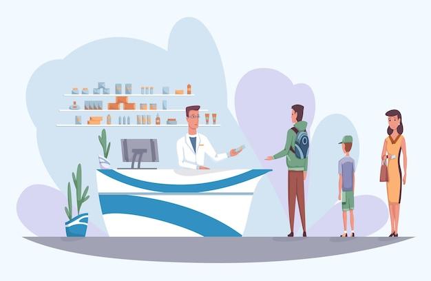 Pharmacie avec pharmacien derrière le comptoir et personnes achetant des médicaments. file d'attente de différentes personnes qui sont venues acheter la pilule. illustration de vecteur de dessin animé de pharmacie.