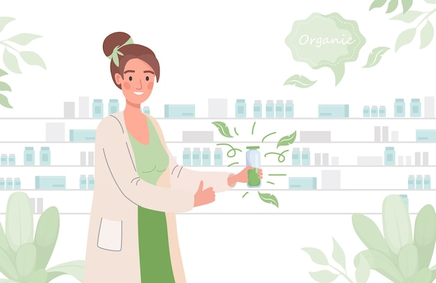 Le pharmacien annonce un médicament biologique ou un complément alimentaire bio
