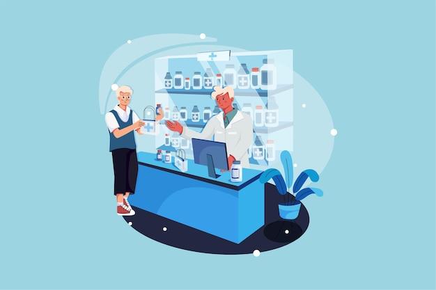 Pharmacien et client à la pharmacie