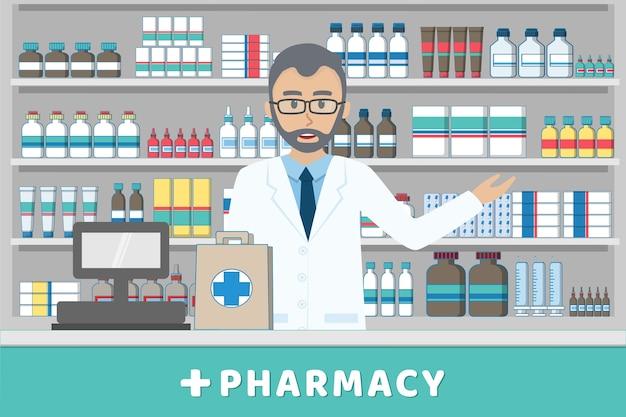 Pharmacien, debout, derrière, casheir, compteur