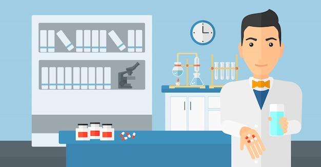 Pharmacien donnant des pilules.
