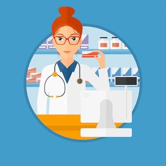 Pharmacien montrant des médicaments.