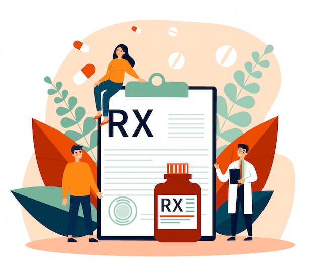 Pharmacien et patients présentant une prescription rx