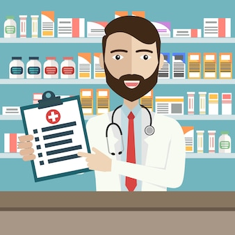 Pharmacien à la pharmacie