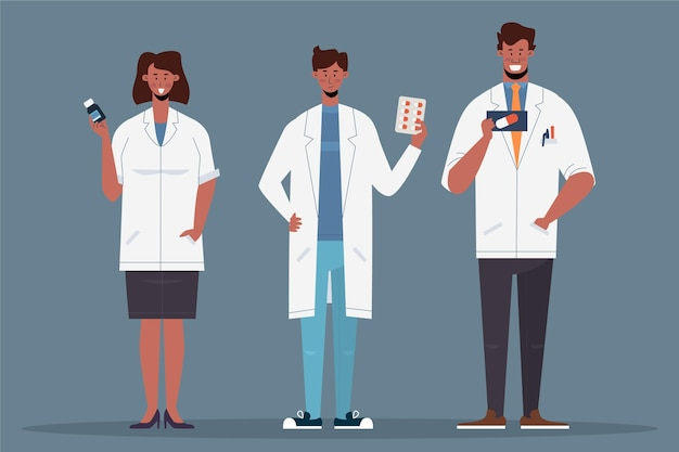 Pharmacien avec des pilules dans les mains