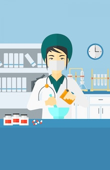Pharmacien préparant des médicaments.