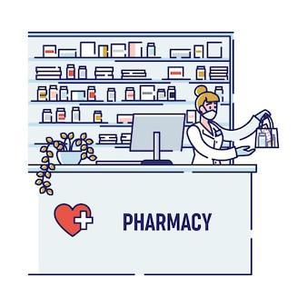 Pharmacien vente de médicaments dans le masque de protection en pharmacie