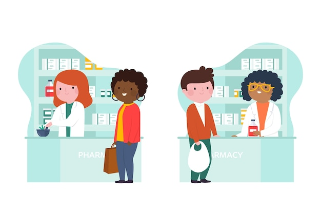 Pharmaciens et clients en pharmacie